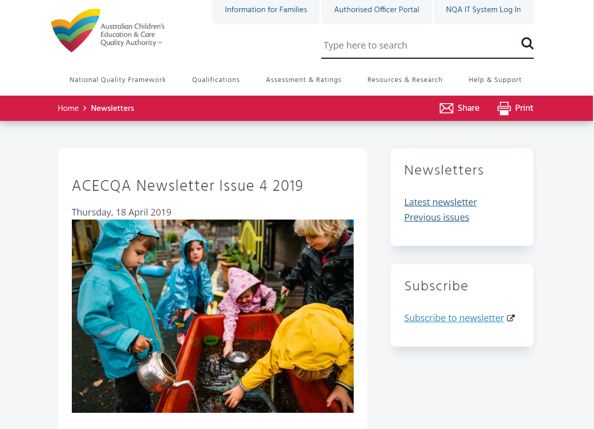 ACECQA newsletter image showing preschool children playing outside in raincoats