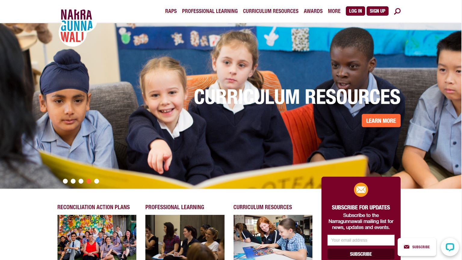 Home page of Narragunnawali website showing school children from a range of cultural backgrounds
