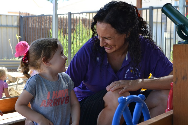 Kate Kassapis, director of Port Pirie Child Care Centre, with a preschooler