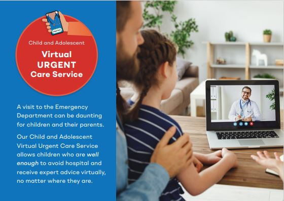 Promotional material from Women's and Children's Hospital, Adelaide showing a father and young daughter speaking to a doctor on a laptop