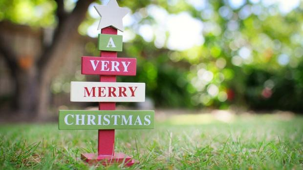 Wooden Christmas tree with 'A very merry Christmas' message on lawn