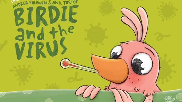 Cover of the book 'Birdie and the virus', including a cute pink bird with a thermometer in its mouth
