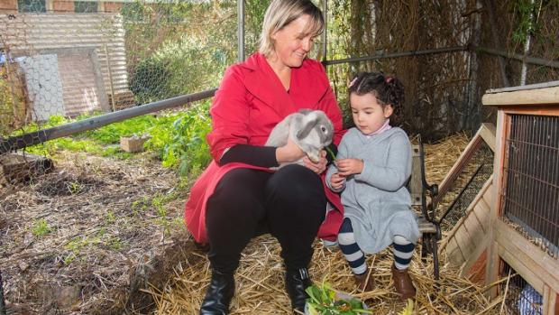 Female educator with preschool girl and rabbit on bench