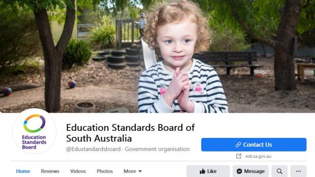 Education Standards Board Facebook page with image of cute preschool girl at top