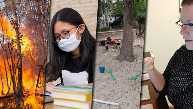 Montage of bushfires, student with mask at computer, empty kindergarten sandpit and authorised officer working from home
