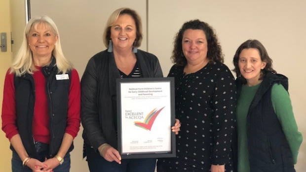 Keithcot Farm Children's Centre staff with their 'Excellent' award: Jen Reid (Assistant Director), Anne Whittleston (Director: Education and Care),  Laura Francis (Community Development Coordinator), Sarah Harry (Occupational Therapist)
