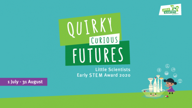 Advert for Little Scientists Early STEM Award 2020, including a cute illustration of a small girl making buildings from bottles