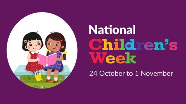 National Children's Week social media tile showing two girls on a bench reading