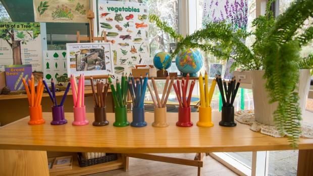 Pencils in pots at a kindergarten