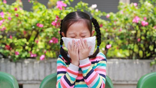 Preschool girl sneezes into a tissue outside with colourful flowers in background