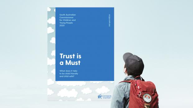 Young person wearing jacket and cap with a red backpack looks up at report titled 'Trust is a must'