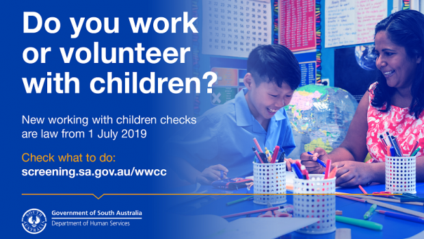 Advert from Department for Human Services in SA for new working with children checks, showing a female teacher working with colourful textas with a primary-school-aged boy in school uniform