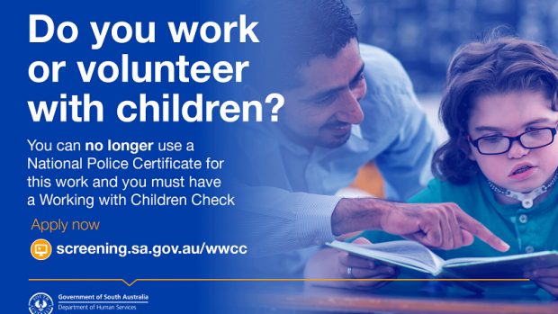 Promotional 'Do you work or volunteer with children?' material from Department for Human Services